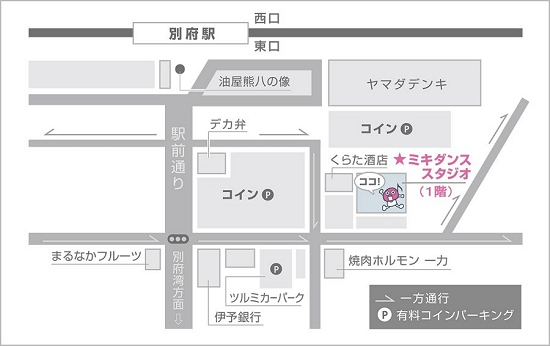 ミキダンススタジオ「別府スタジオ」の地図